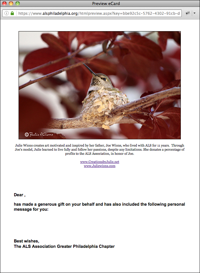 ALS e-card Hummingbird